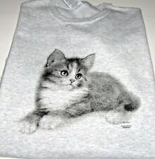 "Kitten ""Puss n' Boots""  Ash Gray Fleece Long Sleeve Crew Neck Sweatshirt"