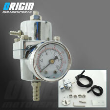 SILVER UNIVERSAL ALUMINUM ADJUSTABLE FUEL PRESSURE REGULATOR GAUGE +VACUUM HOSE