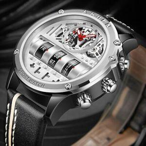 Creative Men Watches Rotate Date Leather Strap Quartz Military Sport Wristwatch
