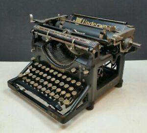 Underwood No. 5 Working Vintage Desk Typewriter 1918 1910s 1920s Gloss Black