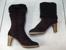 HARDLY WORN Ladies brown faux sheepskin BOOTS size UK 7 Eu40 rock chick chunky