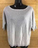 White House Black Market Women's Shirt Size XS Blouse Top Silver Gray Dressy