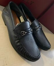 New $595 Bally Men Croft Deerskin Leather Loafers  Shoes Black 11 US