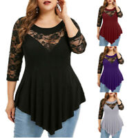 Plus Size Women Lace Mesh Tops 3/4 Sleeve Tunic Shirt Ladies Loose Blo ST