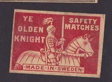 Ancienne étiquette  Allumettes Suède  BN22478 Chevalier Cheval