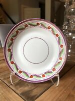 "Antique Floral Pink Gold Lustreware Shallow Bowl 8"""