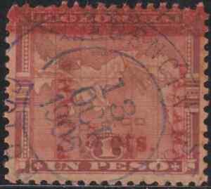 (OL9)COLUMBIA MAP OVERPRINTED PANAMA 1906 SURCHARGED 5c ON 1 PESO USED
