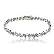 Sterling Silver 0.50ct TDW Diamond Miracle Set S Design Tennis Bracelet