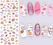 Pink Red Lips Kisses Water Transfers Nail Art Stickers Decals UV Gel Decorations
