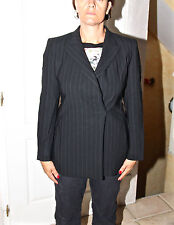 lujosa chaqueta elegante bcbg lana negro de rayas MAX MARA talla 38 es 40 i D 36