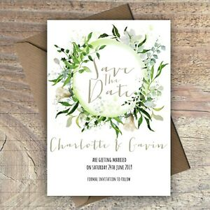 Personalised Save the Date Cards GREEN FLORAL WREATH packs of 10