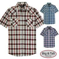 ROCXL Big & Tall Men's Short Sleeve Western Plaid Shirt 3XL - 6XL 2XLT - 6XLT