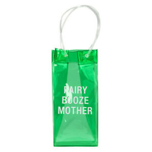 FAIRY BOOZE MUM Durable and Colorful PVC Bottle Bag Say What PVC Wine Tote