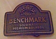 BENCHMARK SOUR MASH BOURBON BELT BUCKLE INDIANA METAL CRAFT GOLD METAL USED.