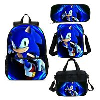 Lovely Sonic The Hedgehog Kids Backpack Sets Lunchbox Sling Bags Pen Case Lot