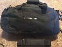 Pottery Barn PB Duffle Bag Tote Black Embroidered Gym Gear Bag Shoulder Strap
