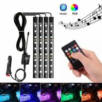 4X RGB 9 LED Car Auto Interior Neon Atmosphere Strip Light Music Remote Control