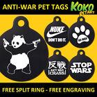 Anti War Nuke Banksy Dog Pet Puppy ID Tag Personalised Engraved Round Aluminium