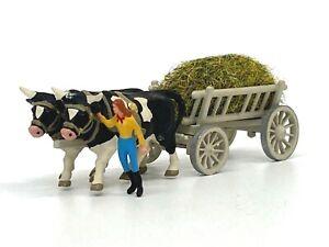 Vintage Preiser HO Scale Ox Cow with Feeding Cart & Figure Item 472