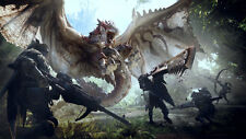Game Monster Hunter World Rathalos Dragon Silk Poster Wallpaper 24 X 13 inch