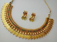 new indian jewelry temple necklace bollywood ethnic gold plated polki coin set