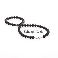 Original Schungit Halskette 42cm mit Magnetverschluß Shungit Perlen 9mm NEU!