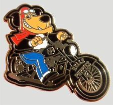FATBOY MUTTLEY RIDES WITH THE HELLS PUPPIES MOTORCYCLE CHAPTER ENAMEL PIN BADGE