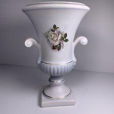 FLORA GOUDA HOLLAND 7 1/2 inch White & Light Blue Floral Vase Signed & Numbered
