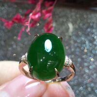 Pure Natural Hetian Green Jade Ring 925 Silver Finger Circles  Adjusted