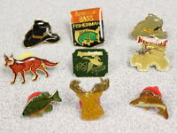 Lot of 9 Vintage Lapel Pins Fishing/Hunting Themed