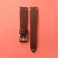 20mm Genuine Brown Leather Vintage Style Perforated Racing Rally Watch Strap