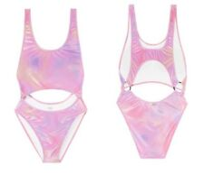 Victoria's Secret PINK Cut-Out One Piece Monokini Swimsuit Velvet Iridescent L