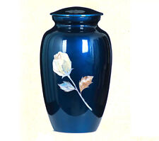 "New Cremation Urn, Metal, Adult ""Mother of Pearl Inlaid Rose"" Royal Blue color!"