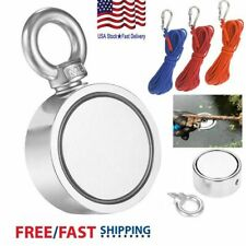 1100lbs Fishing Magnet Kit Strong Neodymium with Rope Gloves Set Treasure Hunt