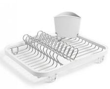 UMBRA SINKIN DISH RACK In-Sink Drainer Tray Wire Dishrack Tidy WHITE & NICKEL