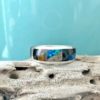 Sterling Silver Opal Onyx Mosaic Inlay Southwest Native Style Size 10 Band Ring