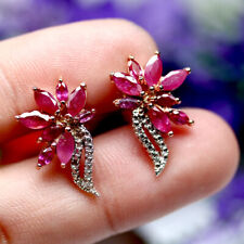 NATURAL HEATED RED RUBY EARRINGS 925 STERLING SILVER