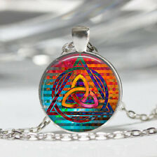 Triquetra photo Tibet silver dome Glass Cabochon Necklace chain Pendant #519