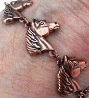"""Copper Bracelet 7 1/4"""" Linked Wheeler Horse Arthritis Healing Folklore cb 257"""