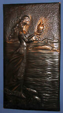 Vintage Russian wall hanging copper plaque girl carry fire