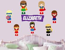 Personalised Girls Superhero - Wall Art Stickers Super hero Bat girl Avengers