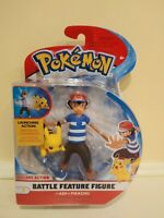 """POKEMON """"Ash + Pikachu"""" Deluxe Action Battle Feature Figure Wicked Cool Toys new"""