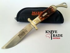 Marbles MR204 Bowie Folding Pocket Knife Stag Bone Handle Stainless Clip Blade