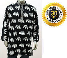 Indian Men's 100% Cotton Elephant Animal Print Kurta Shirt Plus Size White Black