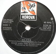 "ECHO & THE BUNNYMEN - Silver - Excellent Condition 7"" Single Korova KOW 34"