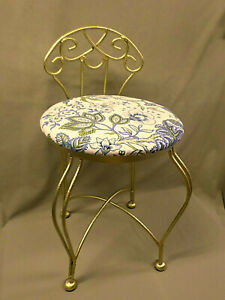 3362M ENSTYLE Vanity Stool Chair w/Back GOLD Wrought Iron ALL ONE PIECE! A+ COND