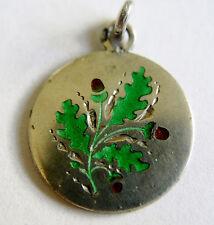 Antique German Art Nouveau Silver & Enamel Acorn & Oak Leaf Charm ~ Beautiful!