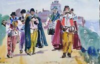 "ORIGINAL watercolour painting medieval musicians 20"" x13"" France Marilyn Allis"
