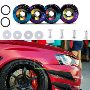 Neo Chrome JDM Quick Release Fasteners For Car Bumpers Trunk Fender Hatch Lids
