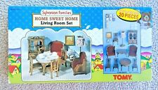 VINTAGE SYLVANIAN FAMILIES: LIVING ROOM SET (SWEET HOME, TOMY 1985!). BRAND NEW!